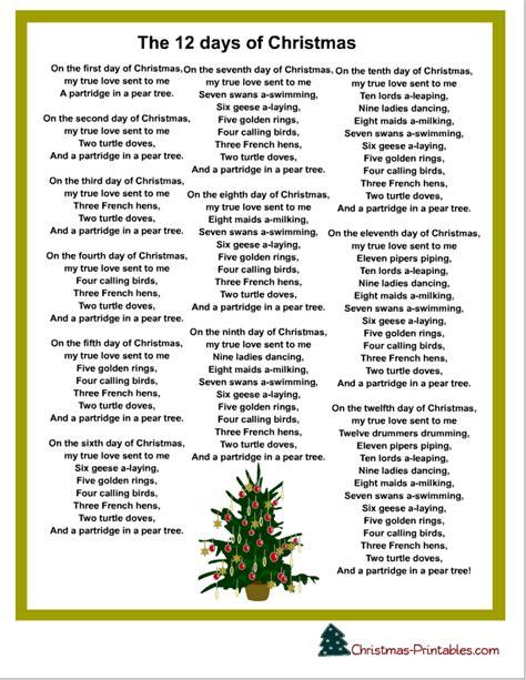 christmas carol printable words to the 12 days of christmas madinbelgrade