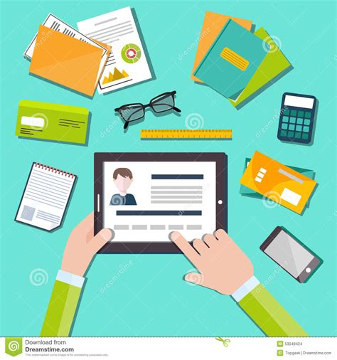 Top Mba In Human Resources by Hr Manager Working With Cv Concept Stock Vector Image