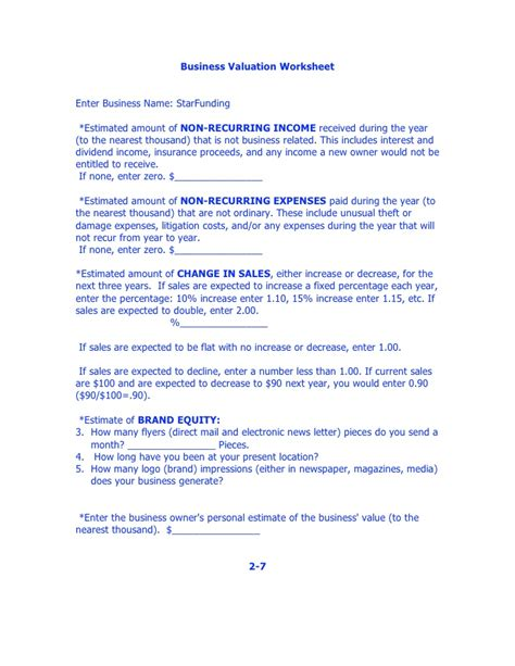 business valuation report template worksheet business valuation worksheet casademateo