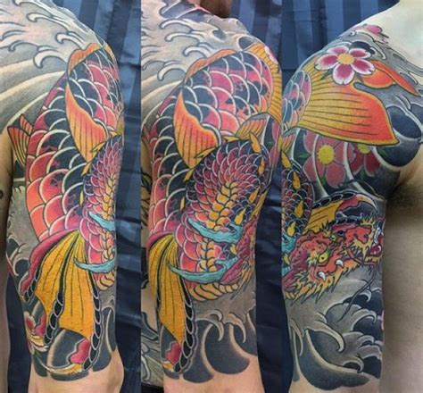 koi dragon half sleeve tattoo designs 50 koi designs for japanese fish ink ideas