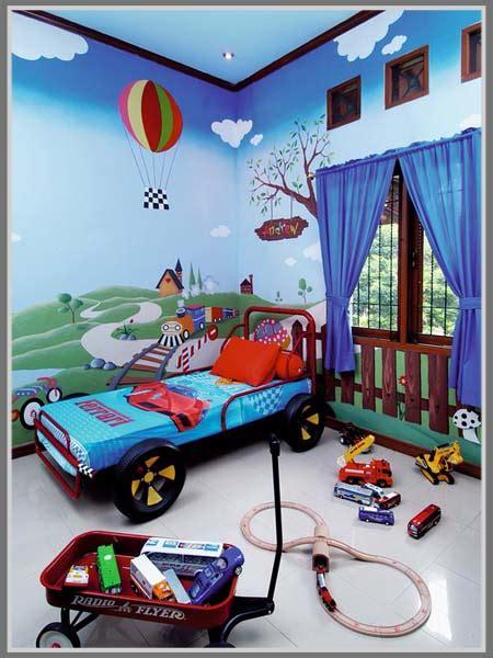Bola Basket Warna Warni buat kamar anak atraktif dengan teknik cat dekoratif