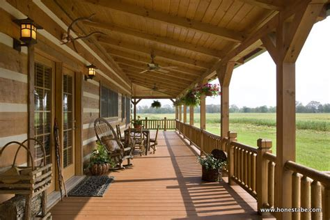 Cabin Porch by Paris Vacation Log Cabin By Honest Abe Log Homes Inc