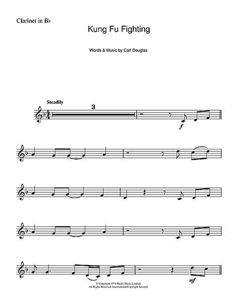 printable lyrics to kung fu fighting kung fu fighting sheet music by carl douglas clarinet
