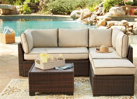 outdoor sectional with table loughran beige and brown outdoor sectional with table from