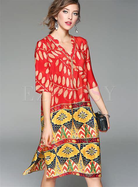 Print Shift Dress ethnic v neck print silk shift dress ezpopsy