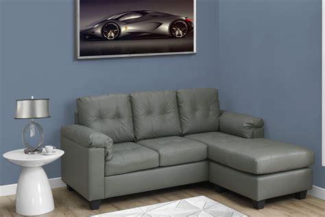 light leather sofa light gray bonded leather sofa lounger 8390lg monarch