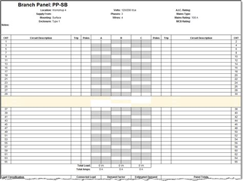 electrical panel schedule template okl mindsprout co
