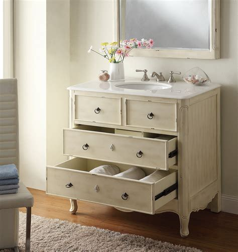 adelina 34 inch vintage bathroom vanity distressed cream