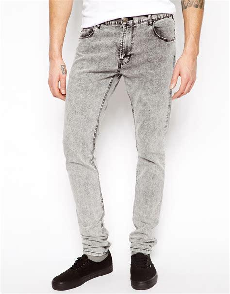 skinny jeans for men lyst pull bear super skinny jeans in acid wash in gray