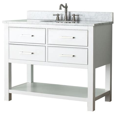 42 Single Sink Bathroom Vanity by 42 In Single Vanity In White Finish Contemporary