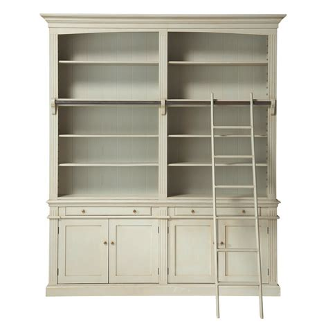 gray bookcase with doors grey bookcase with ladder maisons du monde