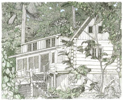 Drawings Of Log Cabins by Pencil Drawing Of Log Cabin Studio Design Gallery