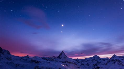 beautiful night view  snow mountain windows  wallpaper