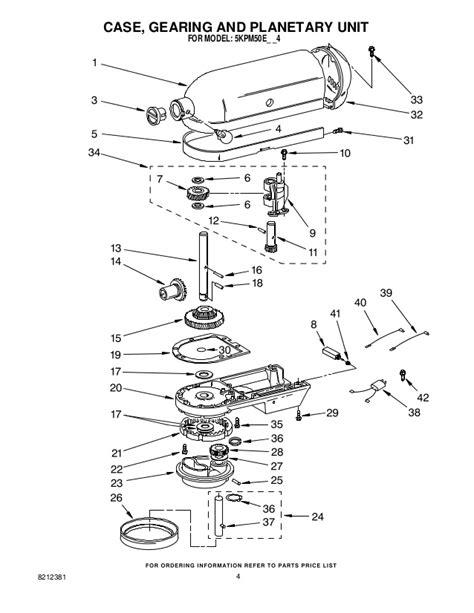 Kitchenaid Parts List Mixer Replacement Parts List For Kitchenaid Stand Mixer