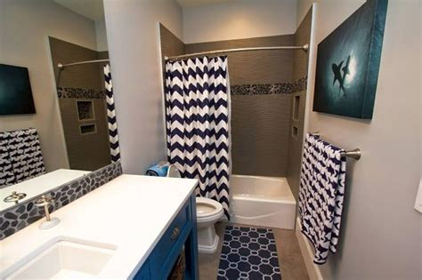 fun shark themed bathroom with navy blue and white chevron