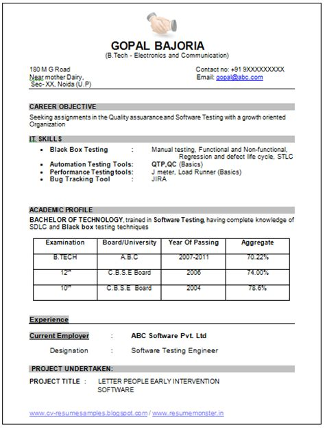Resume Sles Ece Engineers 10000 Cv And Resume Sles With Free Exle Of Professional Resume