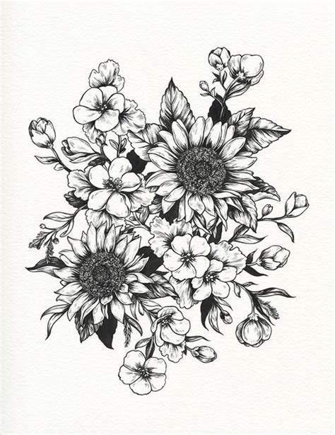 sunflowers drawing botanical illustration tattoo