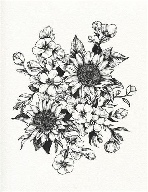 sunflowers drawing botanical illustration tattoo