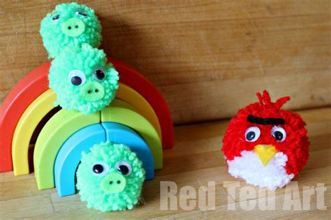learn how to make pom poms and craft decorative items from them pompom crafts angry birds red ted art s blog