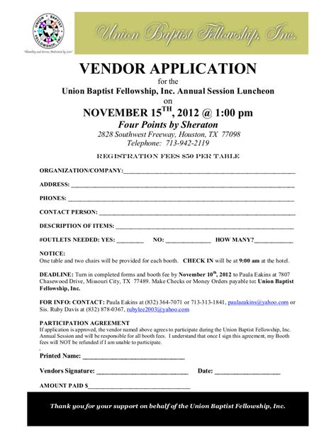 Request Letter Format For Vendor Registration Ubf Vendor Application Union Baptist Fellowship Inc