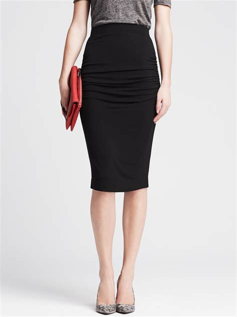 banana republic ruched black jersey pencil skirt in black