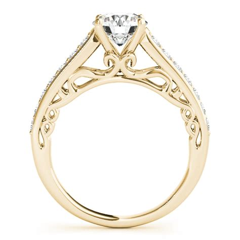 vintage style cathedral engagement ring 18k yellow