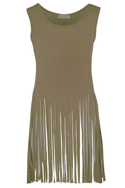 Fringe Hem Shirt womens sleeveless laser cut out tassel fringe hem