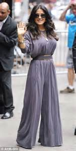 Salma Dress Grey salma hayek arrives at gma in chic yellow dress before leaving in stylish grey jumpsuit daily