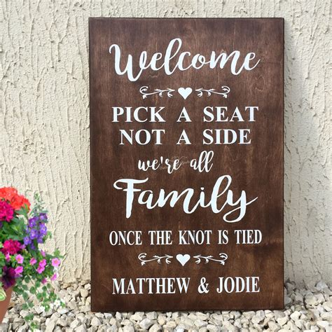 Wedding Quotes A Seat Not A Side by Welcome A Seat Not A Side Wedding Seating Plan Sign