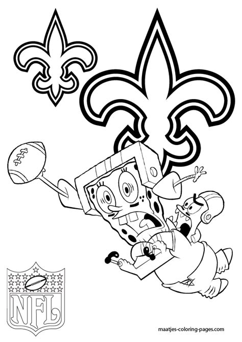 spongebob nfl coloring pages new orleans saints patrick and spongebob coloring pages