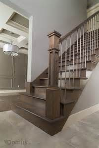Staircase Spindles Ideas Stained Staircase With Modern Stainless Spindles Staircases Stains