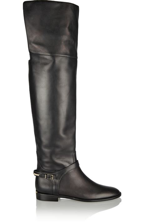 the knee leather boots lyst burberry leather the knee boots in black