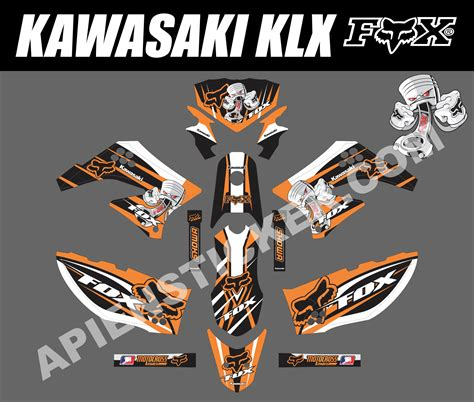 Sticker Decal Striping Dekal Stiker Klx 149 Glossy striping motor kawasaki klx 150 fox piston apien sticker