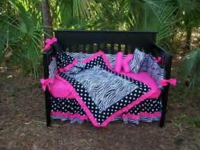 pink black zebra polka dots crib bedding set