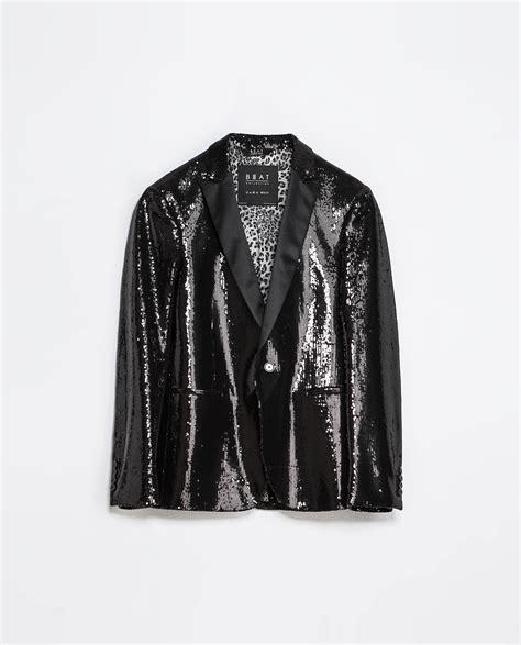 Bt7489 Black Blazer Zara zara blazer with studded satin lapel in black for lyst