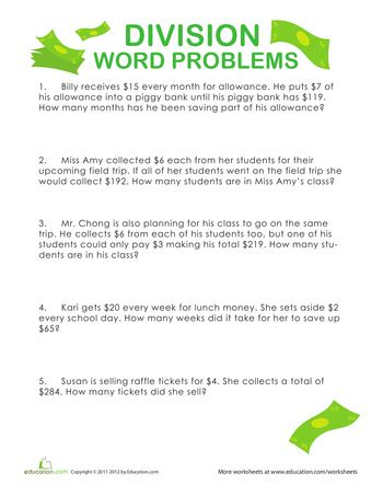 free printable worksheets on division word problems 4th grade division word problems education com