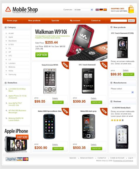 Mobile Store Oscommerce Template 24920 Mobile Compatible Website Template Free