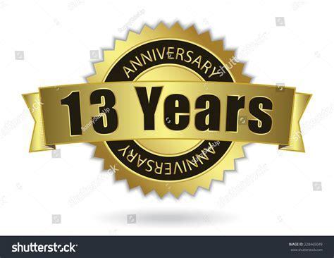 13 Years Anniversary Retro Golden Ribbon Stock Vector