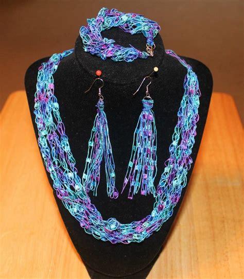 Handmade Yarn Bracelets - blue and purple ladder yarn necklace earrings bracelet