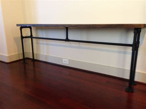 diy black pipe desk diy console from black plumbing pipe and wood all