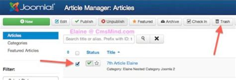 joomla tutorial article manager joomla 3 tutorial how to delete an article in article