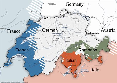 switzerland map languages switzerland map of languages