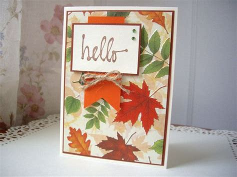 handmade autumn greeting card fall greeting card leaf card falling
