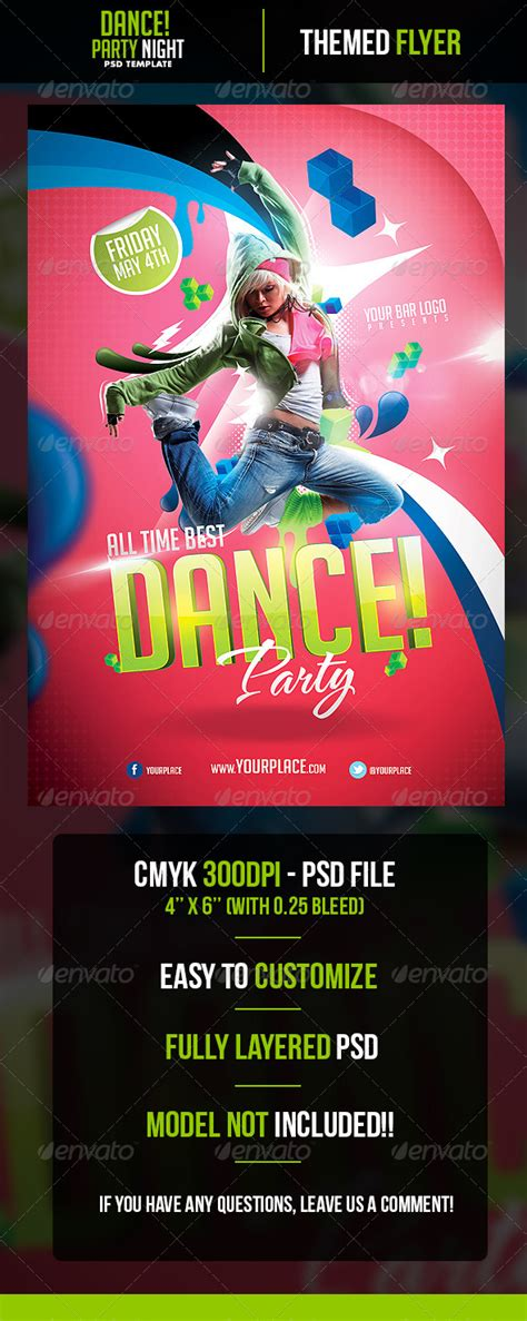 template flyer girl dance dance party flyer template graphicriver
