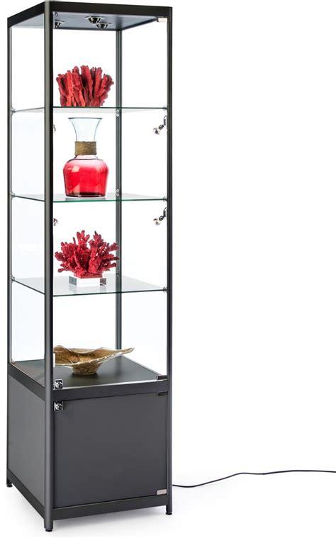 glass display shelves black illuminated tower display tempered glass