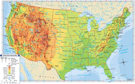 physical features of the united states map 8 best images of printable physical map of us us