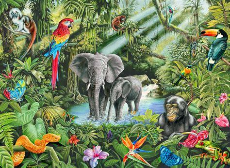 Wildlife Wall Mural rainforest animals by doodlebat72 on deviantart