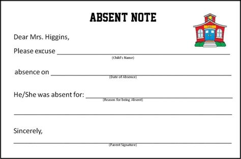 school absence note template free absence calendar template calendar template 2016
