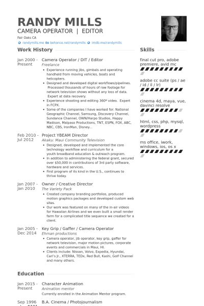 Cameraman Resume Format by Operator Resume Sles Visualcv Resume Sles Database