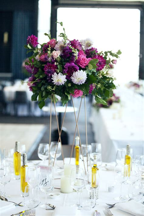 Table Centrepiece, Bright floral, Copper stands, Foliage